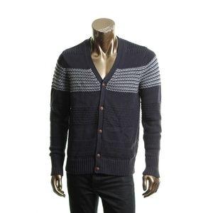 Nautica Mens Intarsia Mixed Knit Striped Cardigan